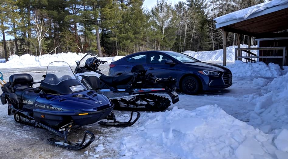 snow mobile at restuarant