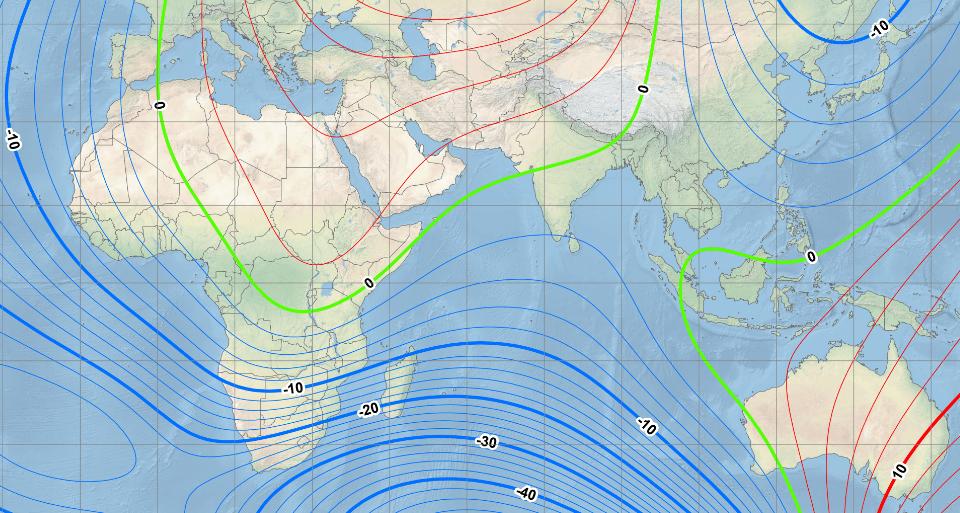 Magnetic declination near sri lanka