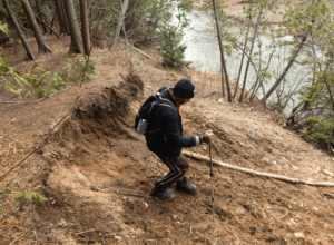 using hiking pole down hill